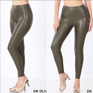 Deep Olive Vegan Leather Leggings